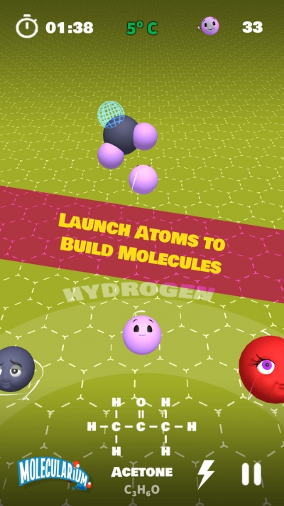 My Molecularium Screenshot - Launching a Hydrogen atom